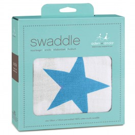 Aden + Anais Brilliant Blue Star Swaddle Image