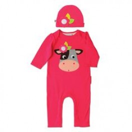 Colette The Cow Playsuit & Hat (0-6m) Image