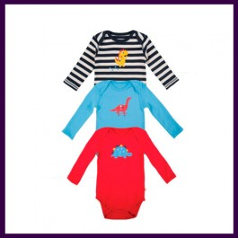 Frugi Organic Long-Sleeved Dino Bodysuit Baby Boy (Newborn) Image