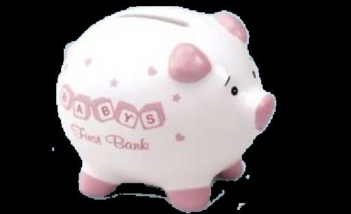 Babys first piggy bank - pink