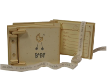 East of India Cream Wooden Baby Record Book
